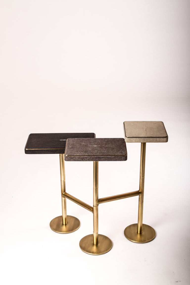 Art Deco Rotating 3-Top Side Table in Shagreen & Bronze-Patina Brass by Kifu Paris For Sale