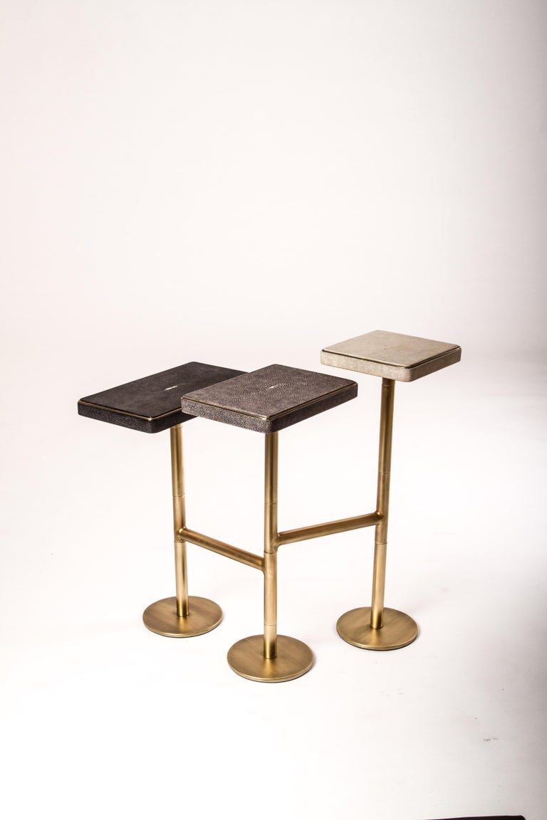 French Rotating 3-Top Side Table in Shagreen & Bronze-Patina Brass by Kifu Paris For Sale