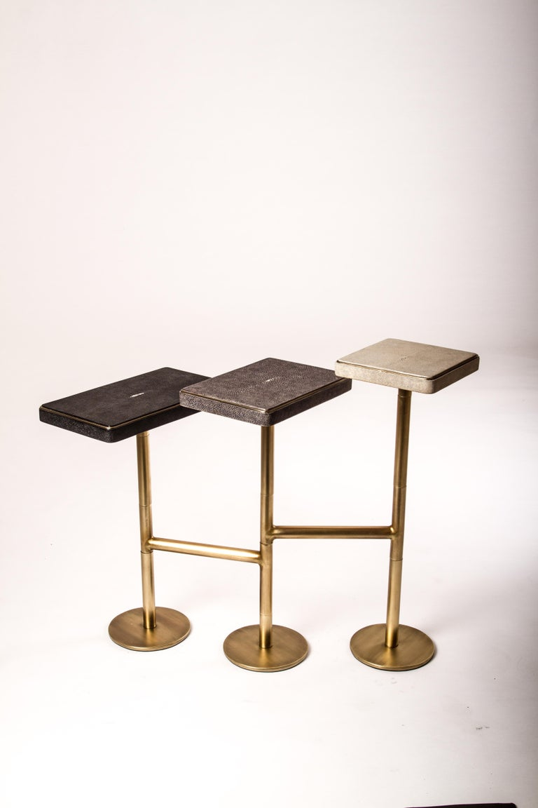 Hand-Crafted Rotating 3-Top Side Table in Shagreen & Bronze-Patina Brass by Kifu Paris For Sale
