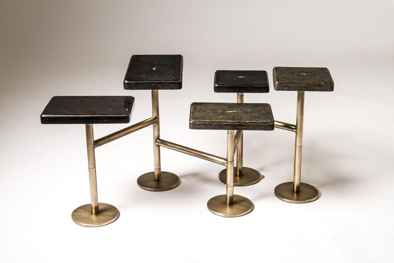 Rotating 3-Top Side Table in Shagreen & Bronze-Patina Brass by Kifu Paris For Sale 2