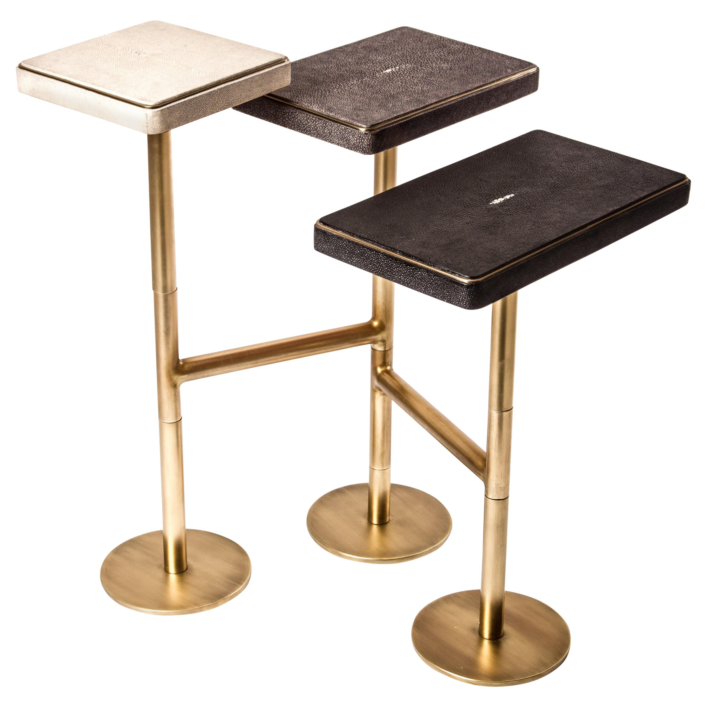 Rotating 3-Top Side Table in Shagreen & Bronze-Patina Brass by Kifu Paris