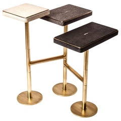 Rotating 3-Top Side Table in Shagreen and Bronze-Patina Brass by Kifu Paris