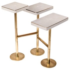 Rotating 3-Top Side Table in White Shagreen & Bronze-Patina Brass by Kifu Paris