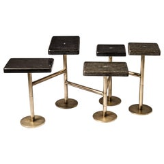 Rotating 5-Top Coffee Table in Shagreen & Bronze-Patina Brass by Kifu Paris
