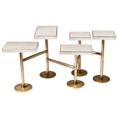 Rotating 5-Top Coffee Table in White Shagreen Bronze-Patina Brass by Kifu Paris