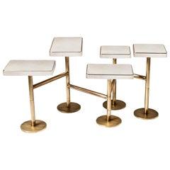 Rotating 5-Top Coffee Table in White Shagreen Bronze-Patina Brass by Kifu Paris