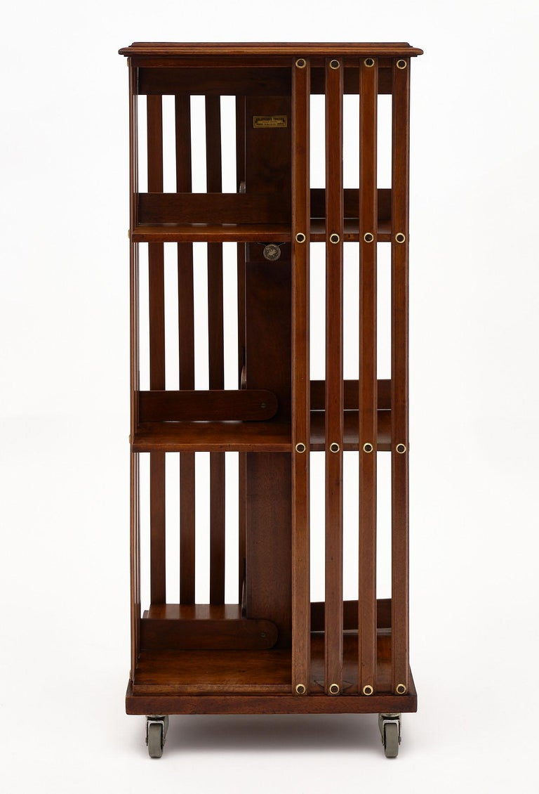Rotating Mid-Century Bookcase In Good Condition For Sale In Austin, TX