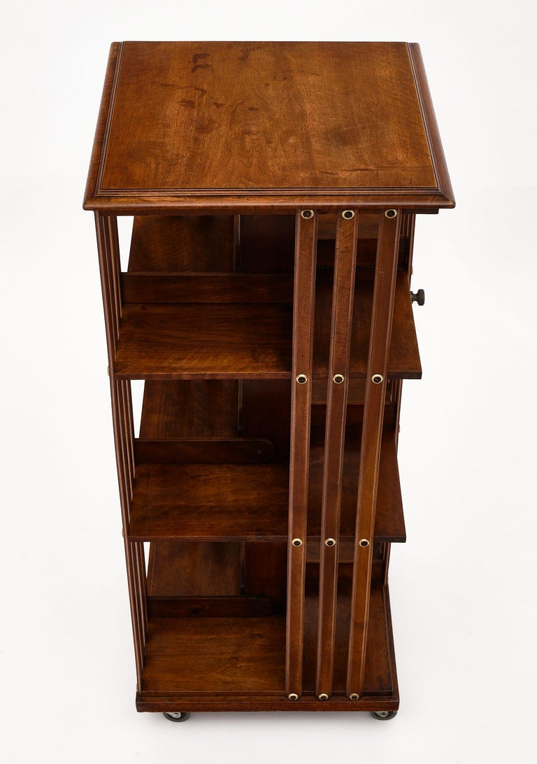 Walnut Rotating Mid-Century Bookcase For Sale
