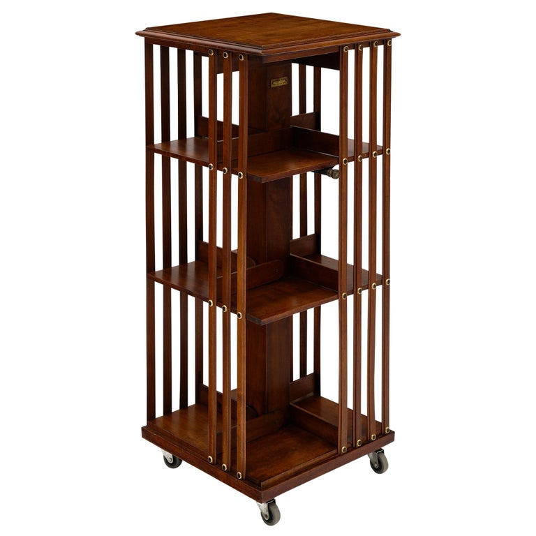 Rotating Mid-Century Bookcase For Sale