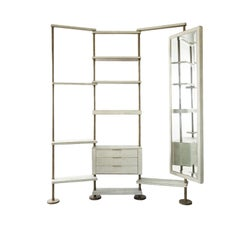 Rotating Shelving Unit with Full Body Mirror in Cream Shagreen by Kifu Paris