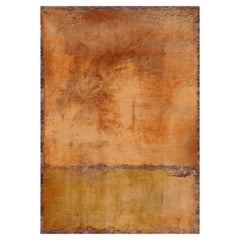 Rothko Inspired Hand Knotted Expressionist Wool Rug in Brown by Gordian