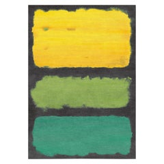 Rothko Inspired Multicolored Hand Knotted Expressionist Wool Rug by Gordian