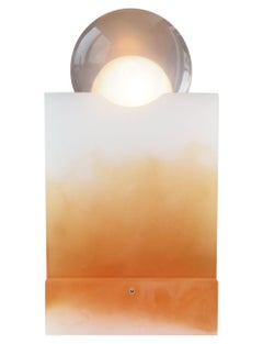 Rotonda Table Lamp in Sand and Orange Resin by Adrian Cruz Elements