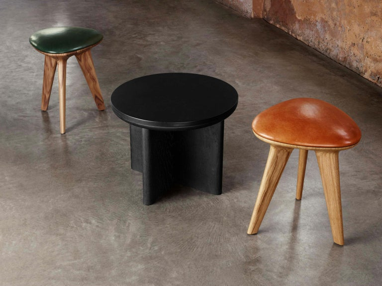 British Rotor, Solid Black Oak Stool with Black Padded Leather Seat by Made in Ratio For Sale