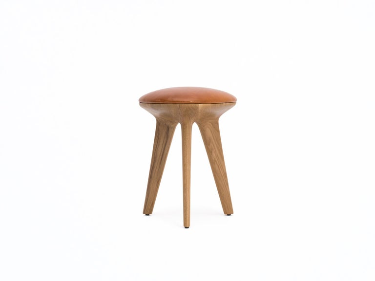 Rotor, Solid Black Oak Stool with Black Padded Leather Seat by Made in Ratio For Sale 3