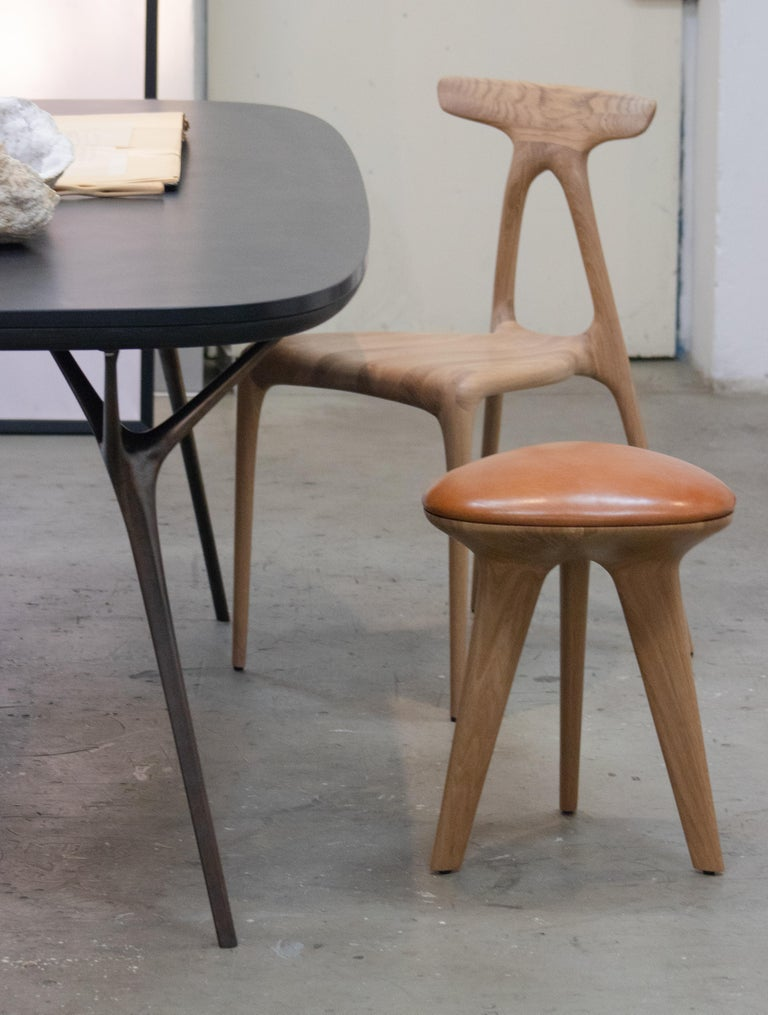 British Rotor, Solid Oak Stool with Padded Tan Leather Seat by Made in Ratio For Sale