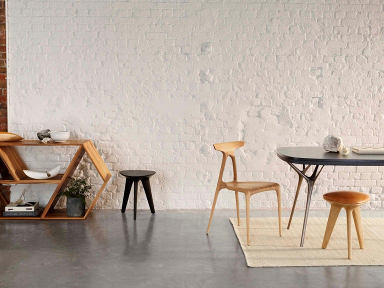 Rotor, Solid Oak Stool with Padded Tan Leather Seat by Made in Ratio For Sale 2