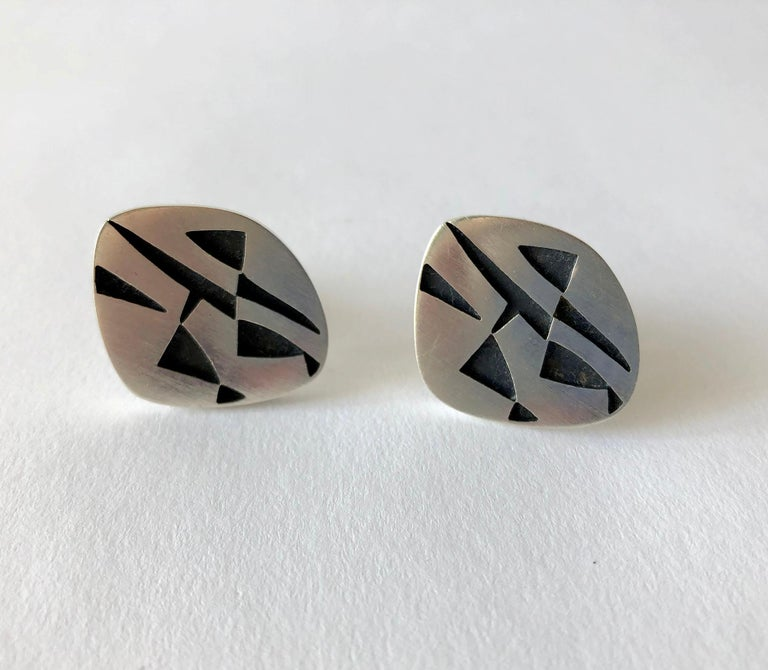 Rotter Sterling Silver Geometric Abstract American Modernist Cufflinks In Good Condition For Sale In Los Angeles, CA