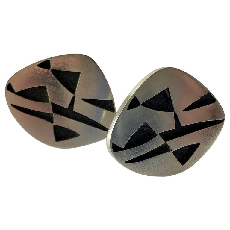 Rotter Sterling Silver Geometric Abstract American Modernist Cufflinks For Sale