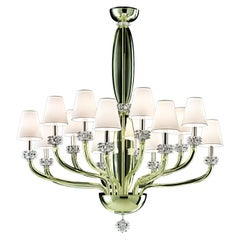 Rotterdam 5563 14 Chandelier in Glass with White Shade, by Barovier&Toso