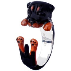 Rottweiler Dog Sterling Silver 925 Enamel Customizable Ring
