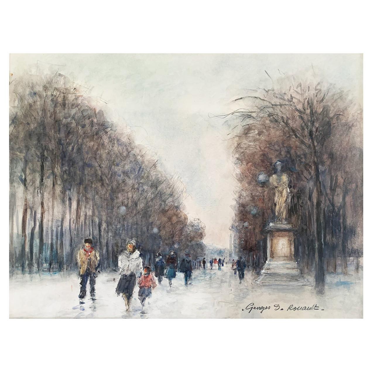 "Rouault Georges Dominique ""Paris - The Tuileries Garden"" Watercolor"