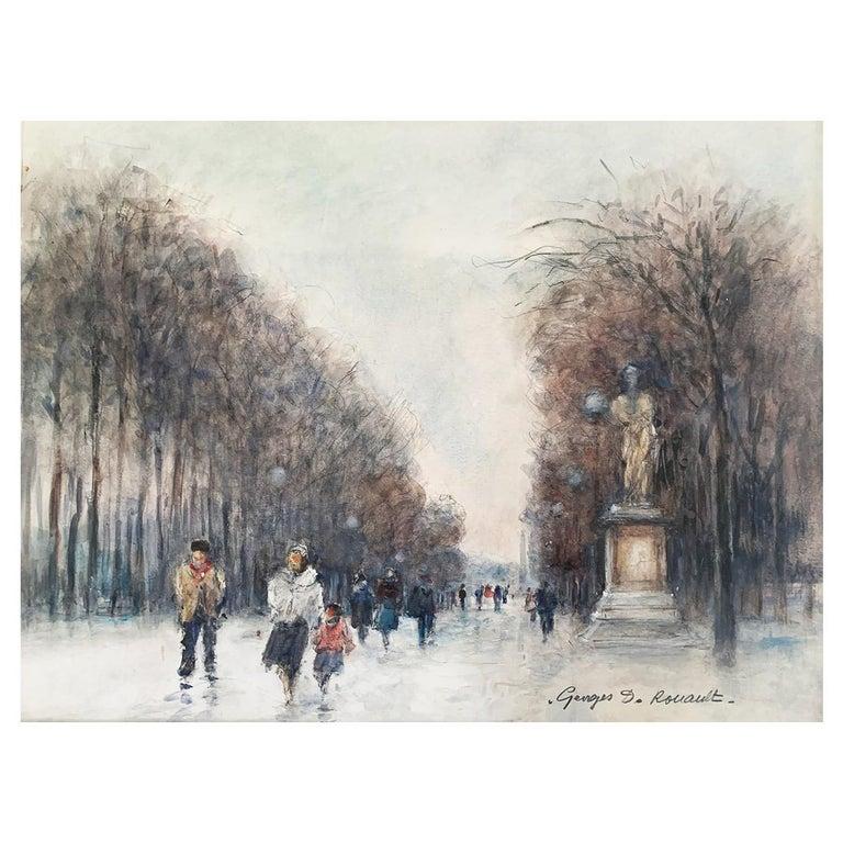 """Rouault Georges Dominique """"Paris - The Tuileries Garden"""" Watercolor For Sale"""