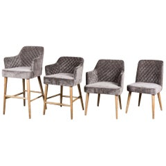Rouen Chenille Dining Chairs, 20th Century