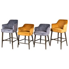 Rouen Quilted Bar Stools, 20th Century