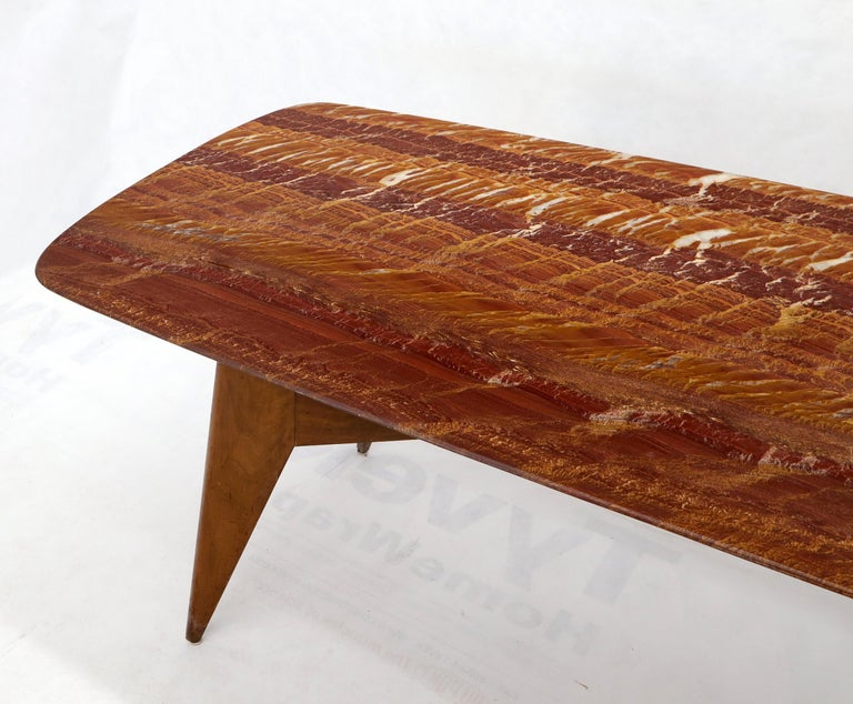 Rouge Boat Shape Marble Top Dining Table on Compass Shape Solid Walnut Legs For Sale 6