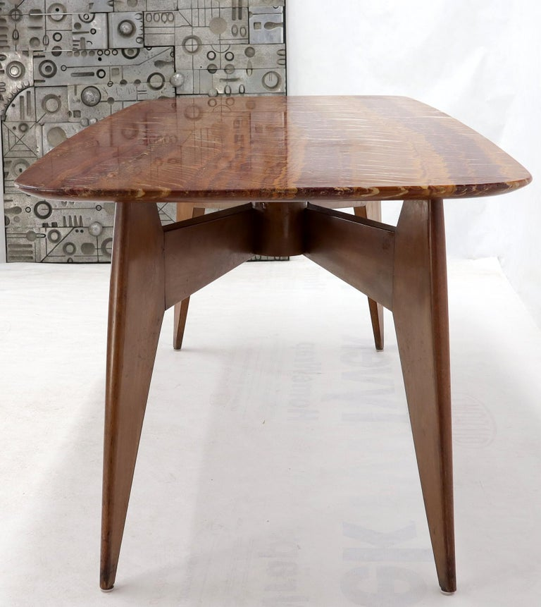 Rouge Boat Shape Marble Top Dining Table on Compass Shape Solid Walnut Legs For Sale 8