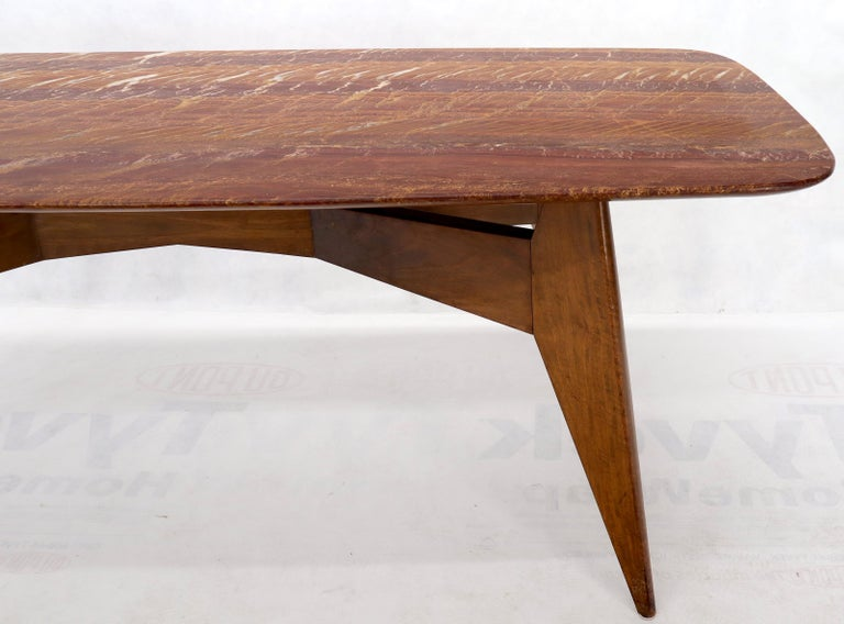Rouge Boat Shape Marble Top Dining Table on Compass Shape Solid Walnut Legs For Sale 9