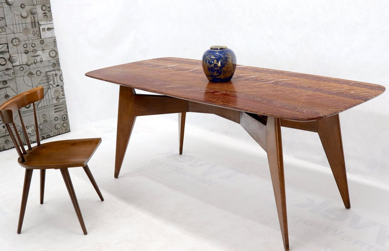 French Mid-Century Modern deco solid walnut compass shape legs base marble top dining or conference table. Attributed to or in style of Jean Prouve.