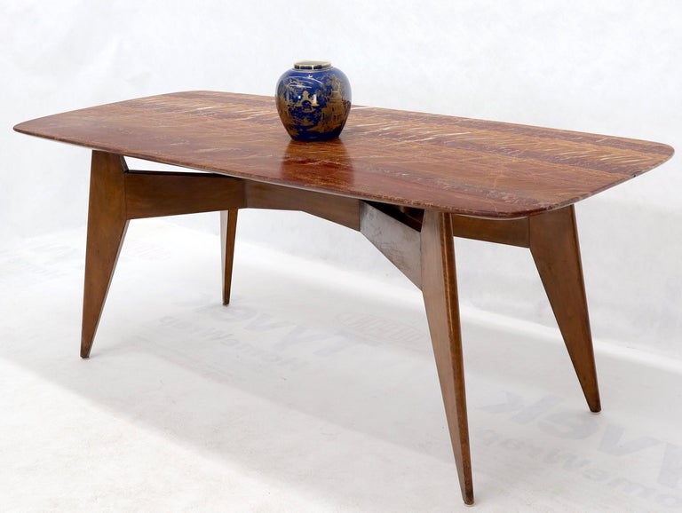 Mid-Century Modern Rouge Boat Shape Marble Top Dining Table on Compass Shape Solid Walnut Legs For Sale