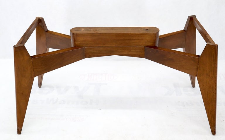 French Rouge Boat Shape Marble Top Dining Table on Compass Shape Solid Walnut Legs For Sale