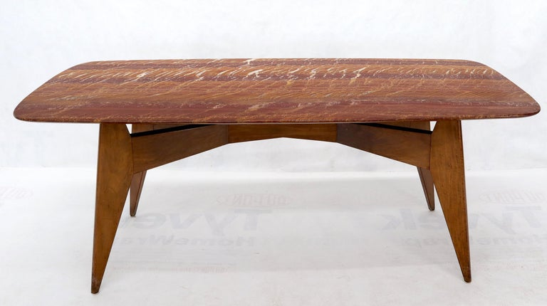 Rouge Boat Shape Marble Top Dining Table on Compass Shape Solid Walnut Legs For Sale 3