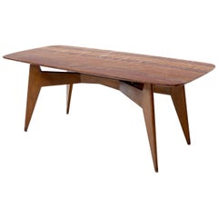 Rouge Boat Shape Marble Top Dining Table on Compass Shape Solid Walnut Legs