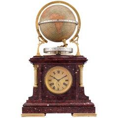 Rouge Marble Globe Clock