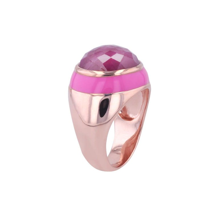 For Sale: undefined Rouge Pink Enamel Ring with Cabochon Opaque Ruby in Rose Gold 10