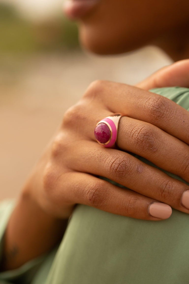 For Sale: undefined Rouge Pink Enamel Ring with Cabochon Opaque Ruby in Rose Gold 11