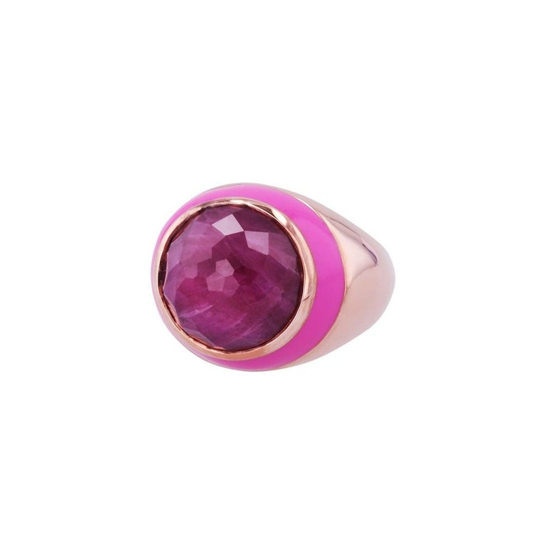 For Sale: undefined Rouge Pink Enamel Ring with Cabochon Opaque Ruby in Rose Gold 5
