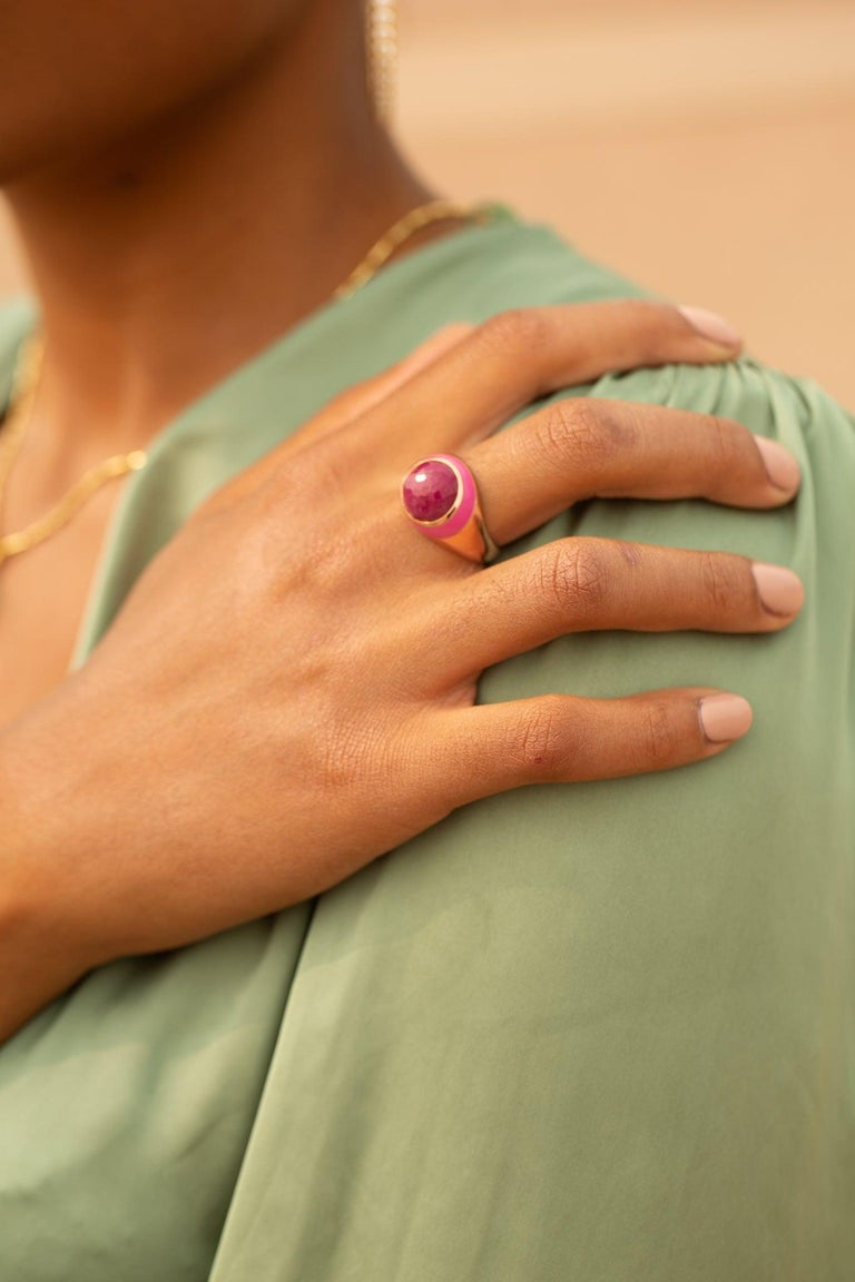 For Sale: undefined Rouge Pink Enamel Ring with Cabochon Opaque Ruby in Rose Gold 6