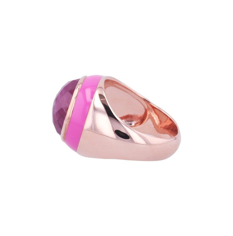 For Sale: undefined Rouge Pink Enamel Ring with Cabochon Opaque Ruby in Rose Gold 7
