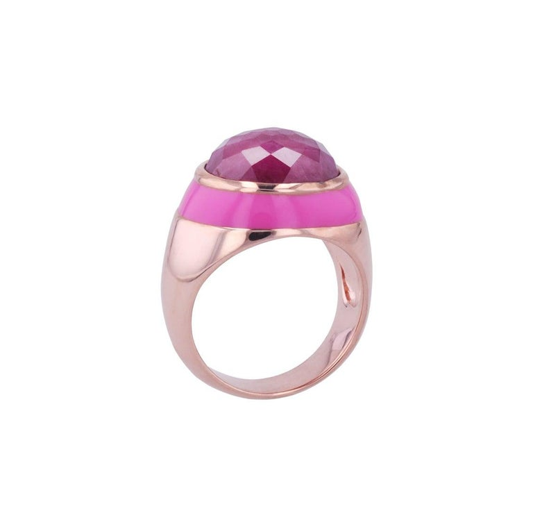 For Sale: undefined Rouge Pink Enamel Ring with Cabochon Opaque Ruby in Rose Gold 8