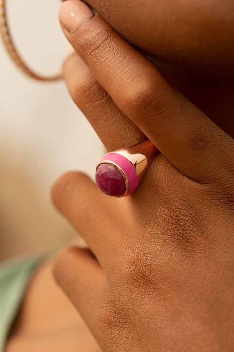 For Sale: undefined Rouge Pink Enamel Ring with Cabochon Opaque Ruby in Rose Gold 9