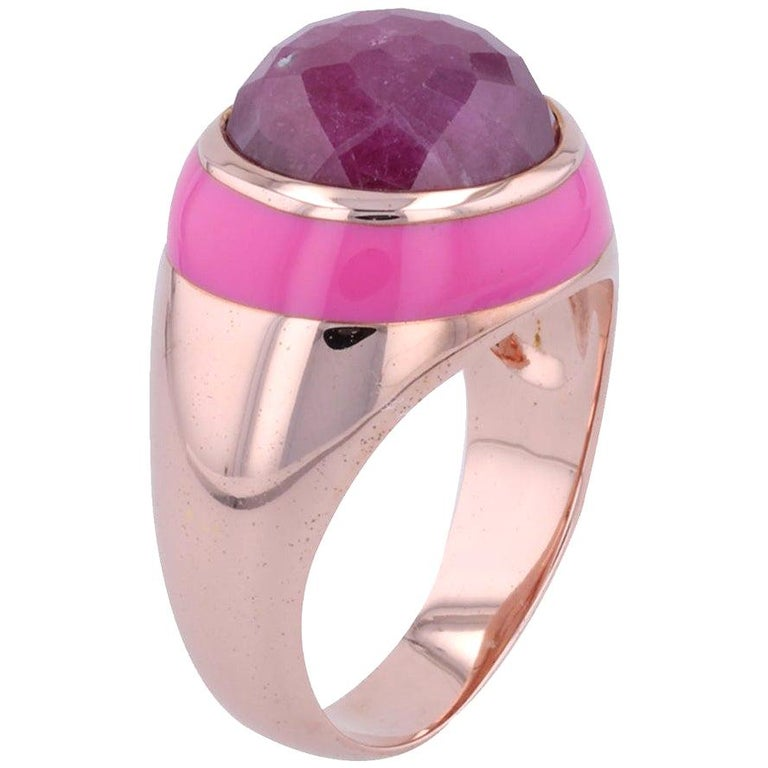 For Sale: undefined Rouge Pink Enamel Ring with Cabochon Opaque Ruby in Rose Gold