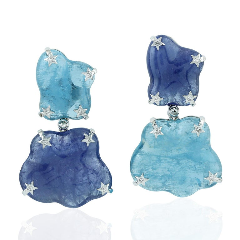 Modernist Rough Aquamarine and Tanzanite Earring in 18 Karat White Gold with Diamonds For Sale
