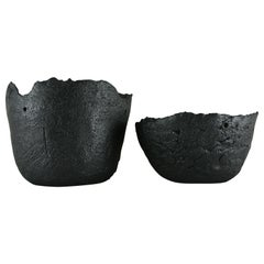 Rough Black Stoneware Planter with Black Metallic Glaze for a Hanging Plant