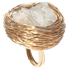 Crystallized Raw Rock embraced in Gold Statement Cocktail Ring by Sheila Westera