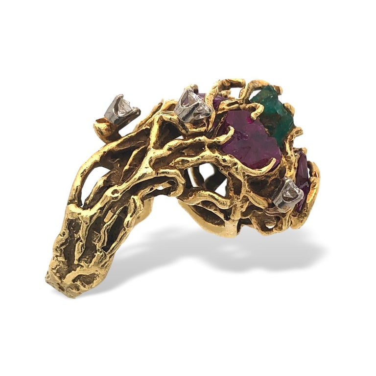 Uncut Rough-Cut Emerald and Ruby Nugget Statement Ring, 1970s For Sale